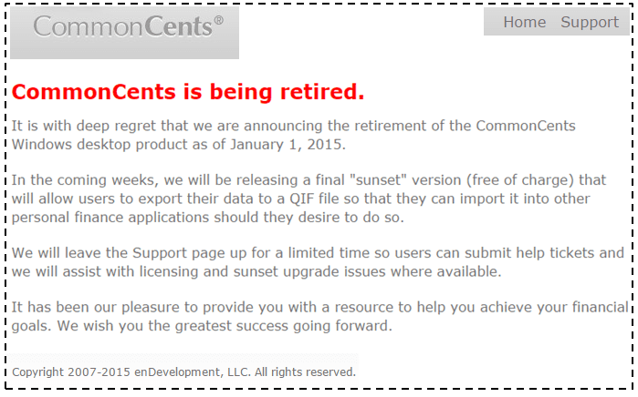 CommonCents is being retired