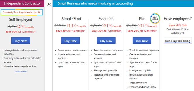 QuickBooks – Regular Versions (Monthly Costs)-min