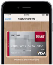 BB&T card in Apple Wallet-min