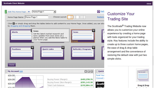 Scottrade options trading application