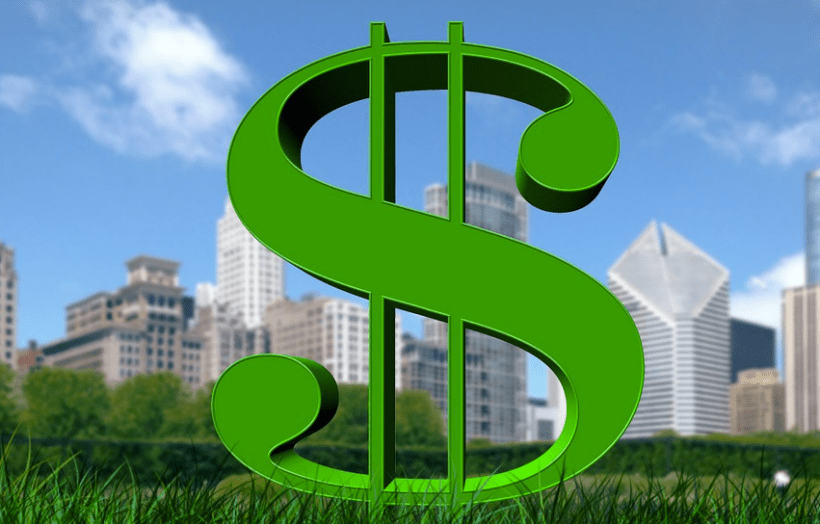a graphic of a large green dollar symbol with a city scape background representing the Ways You Can Find Private Investors