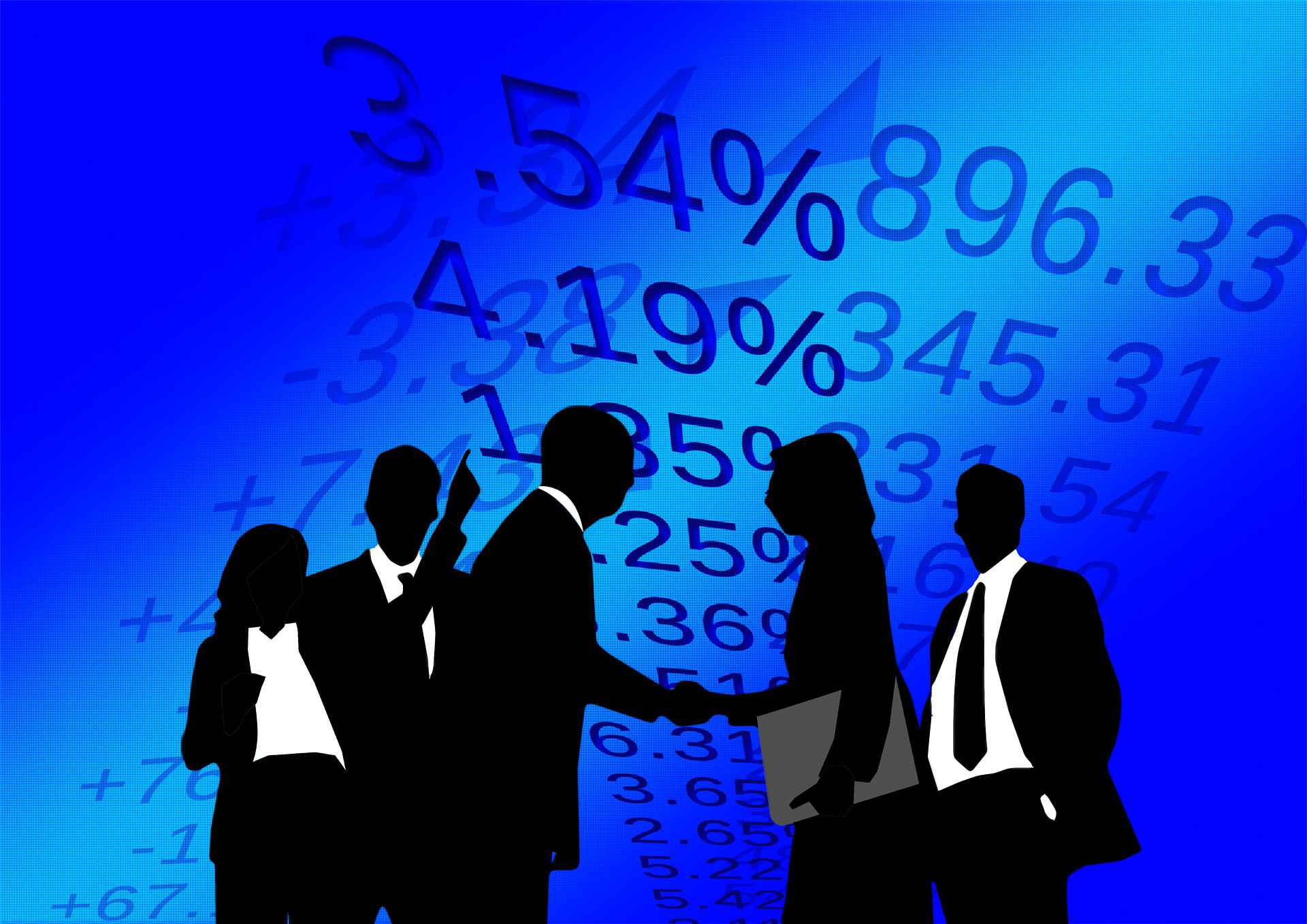 a blue graphic of a group of financial planners wearing suits shaking hands with percentage numbers in the background representing the Certified Financial Planner Requirements