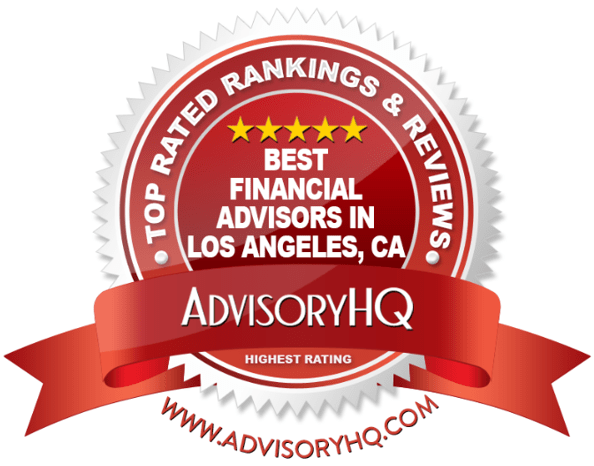 Best Financial Advisors in Los Angeles, CA Red Award Emblem