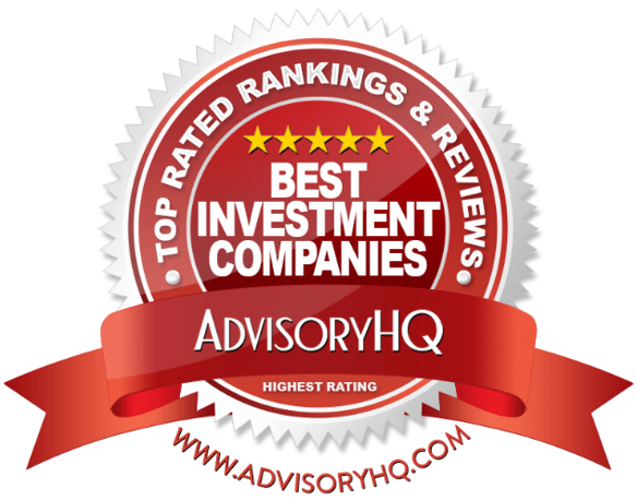 best investment companies red award emblem