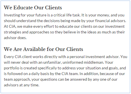 capital investment advisors educating clients