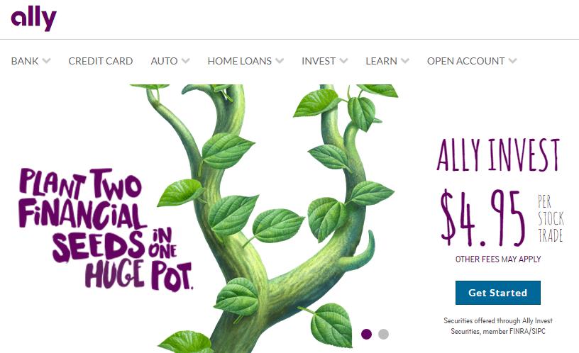 Screenshot of Ally Bank website