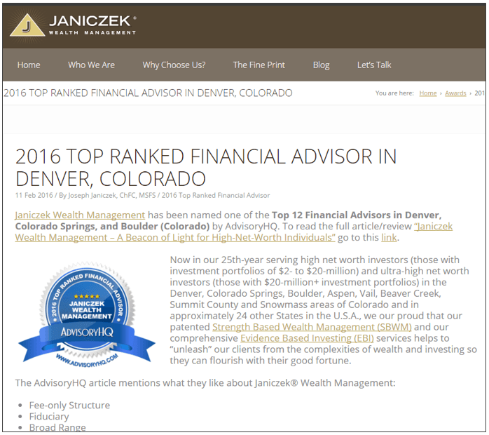 Promoting AdvisoryHQ Award Emblem - Janiczek