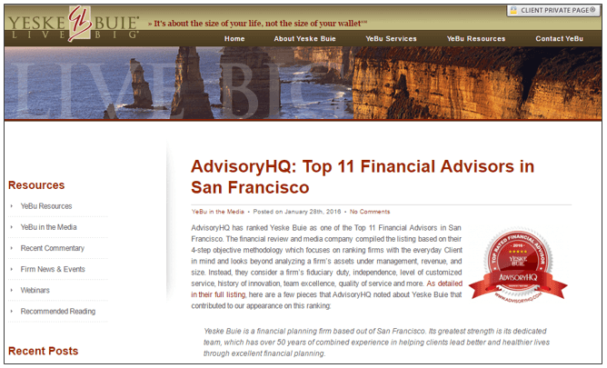 Promoting AdvisoryHQ Award Emblem - Yeske