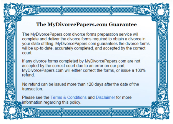 The MyDivorcePapers.com Guarantee