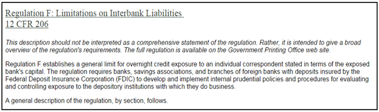 Regulation f limitations on interbank liabilities