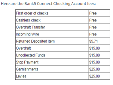 bank 5 connect checking account fees