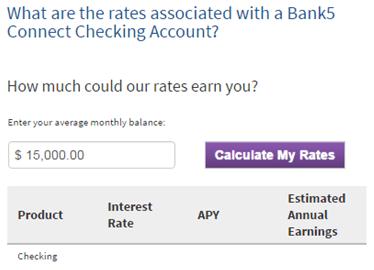 bank 5 connect checking account rates-min