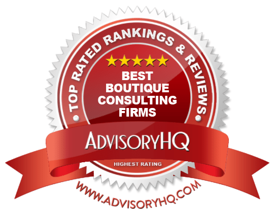 Best Boutique Consulting Firms Red Award Emblem