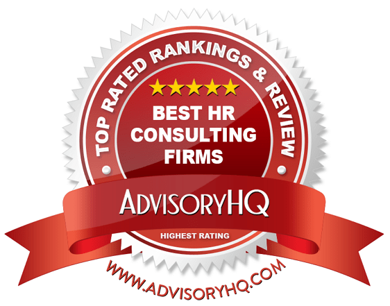best HR consulting firms red award emblem