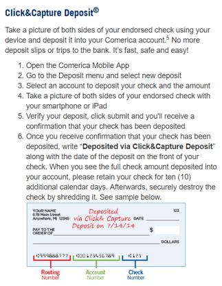 Comerica Bank Click&Capture Deposit