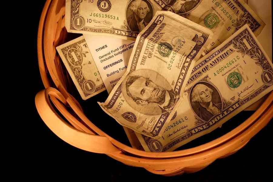 dollars in a bucket