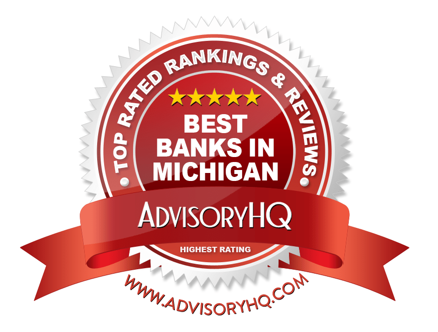 Best Banks in Michigan Red Award Emblem
