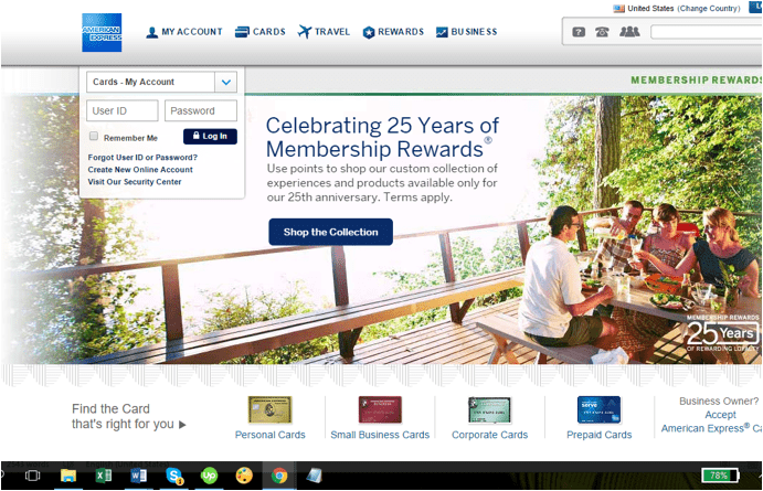screenshot of american express website - discover or american express