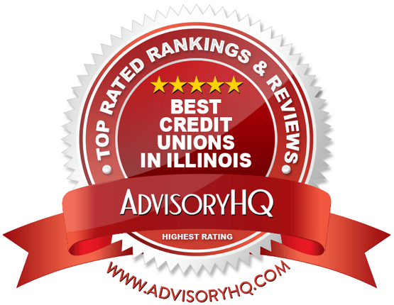 Best Credit Unions in Illinois Red Award Emblem