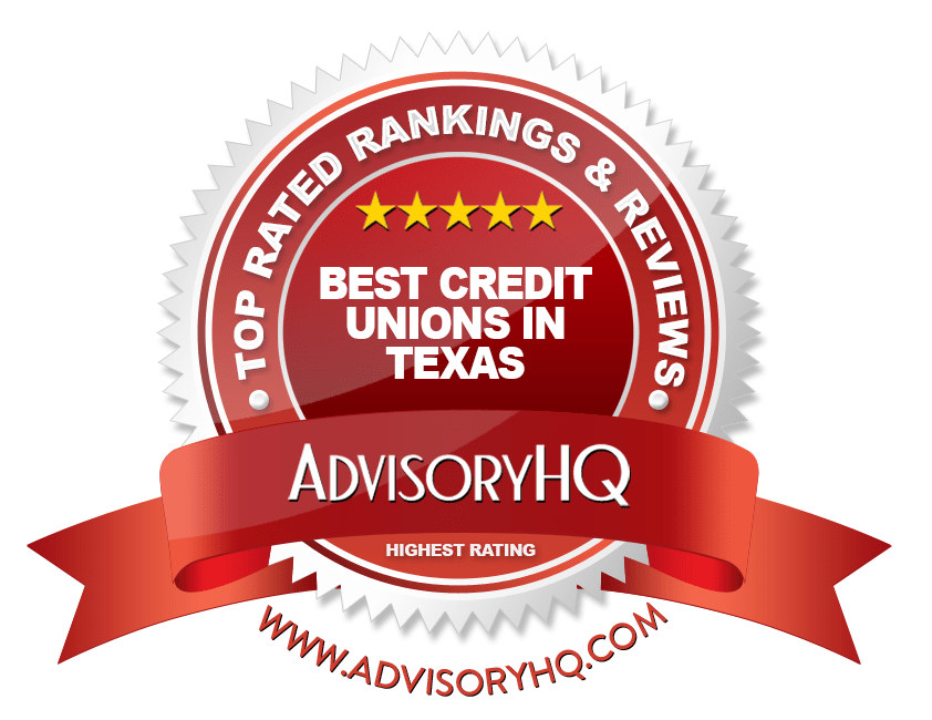 Best Credit Unions in Texas Red Award Emblem