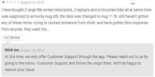 Wish Google Play customer review
