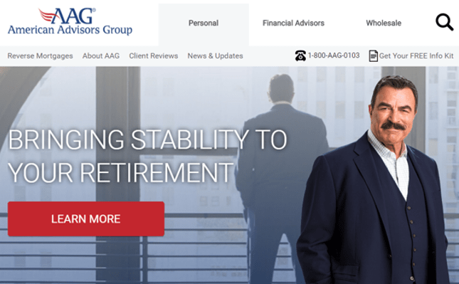 a screenshot of AAG's website and the discussion on whether there are any aag reverse mortgage complaints