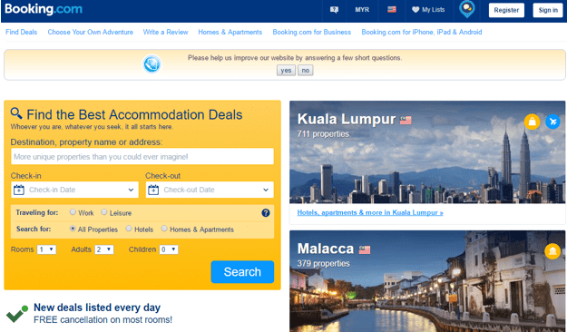 Booking Accommodations  Sales Numbers