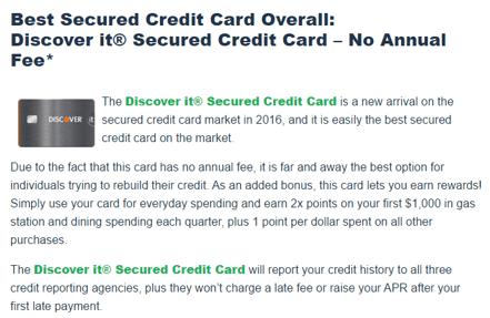 secured credit cards to rebuild credit