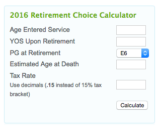 army retirement pay calculator