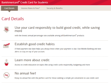 bank of america student credit card