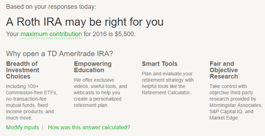 TD Ameritrade - Types of IRAs Offered