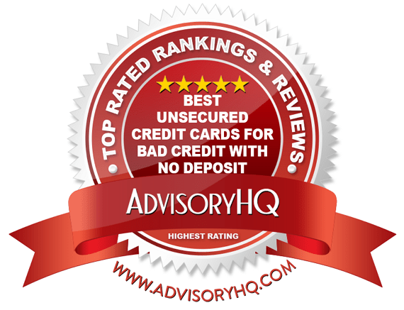 Best Unsecured Credit Cards for Bad Credit with No Deposit Red Award Emblem