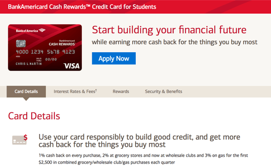 bank of america cash rewards card