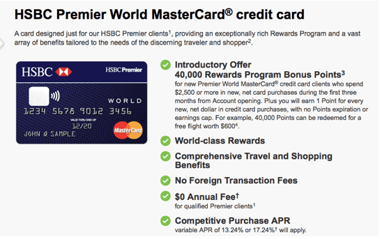 HSBC Premier World MasterCard® Credit Card - hsbc credit card promotion