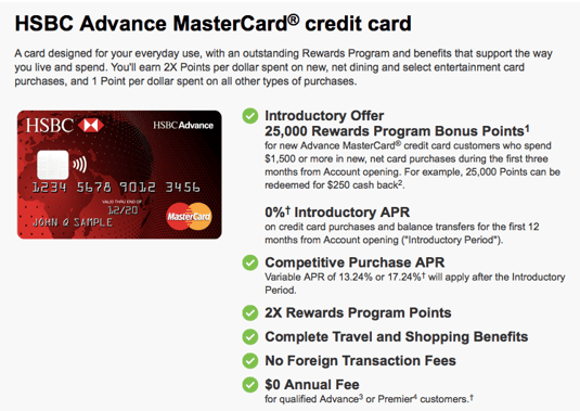 HSBC Advance MasterCard® Credit Card - hsbc card promotion