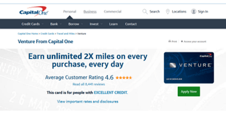 Capital One® Venture® - prestigious credit cards