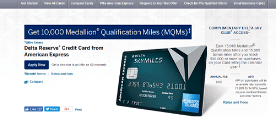 Delta Reserve® Credit Card from American Express - premium credit cards