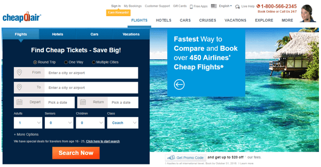 Cheapoair.com - best website for flights