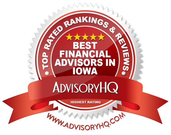 Best Financial Advisors in Iowa Red Award Emblem