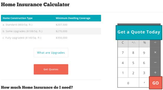 Homeowners Insurance Estimate Calculator