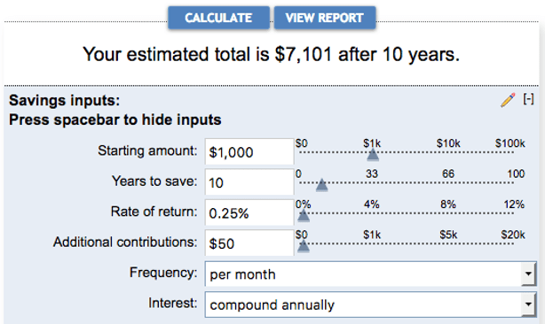 Amazing Savings Account Interest Calculator