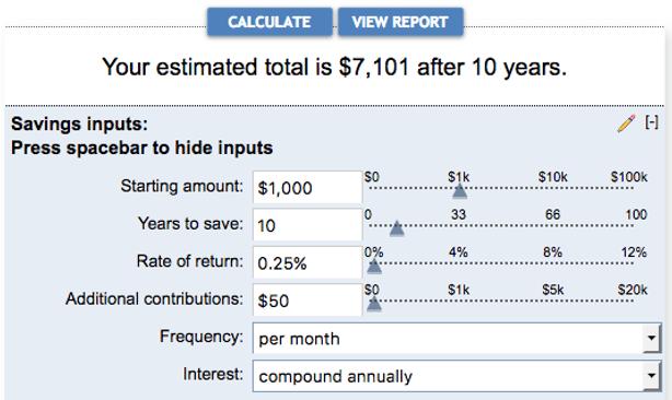 Elegant Savings Account Interest Calculator