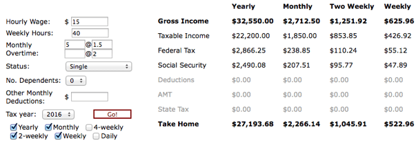 Yearly Income Calculator
