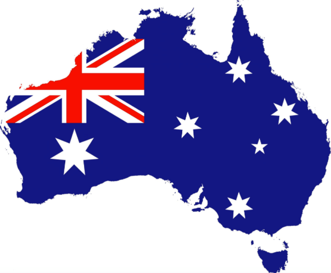 Map of Australia with Australia Flag
