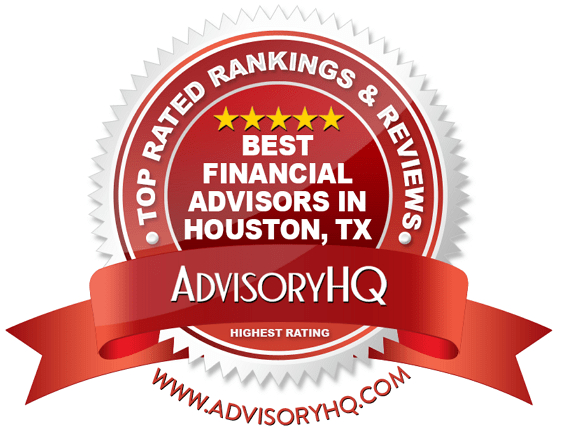 red award emblem for best financial advisors in houston, tx