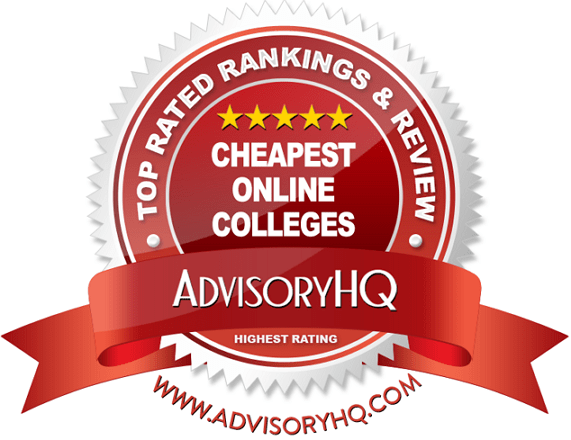 Cheapest Online Colleges Red Award Emblem