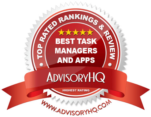 best task managers and apps red award emblem
