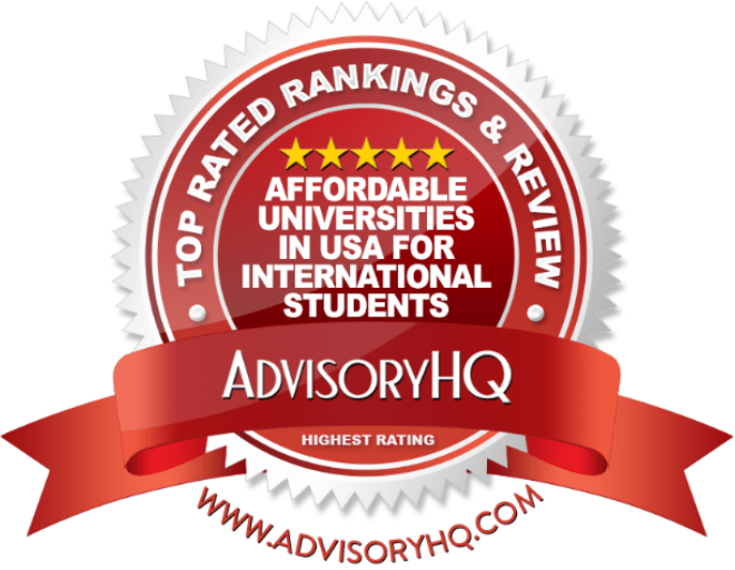 Affordable Universities in USA for International Students Red Award Emblem