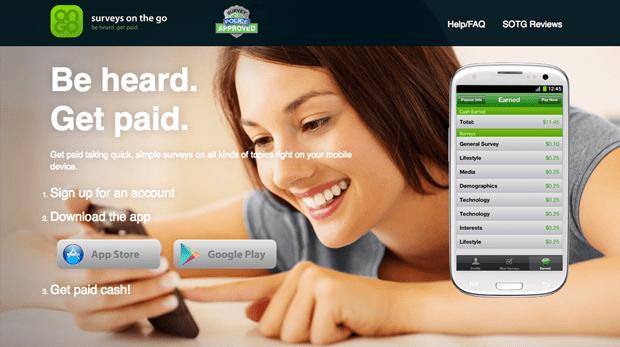 surveys on the go top money making apps