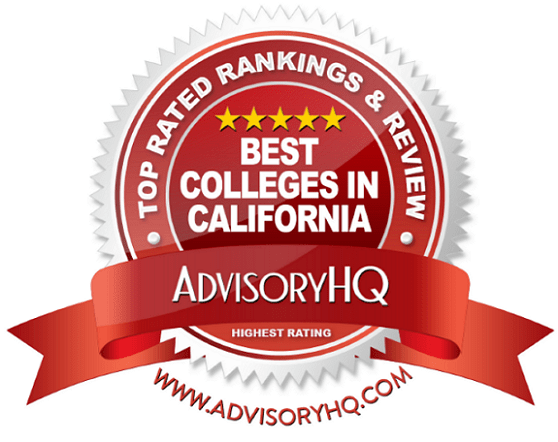 Best Colleges in California Red Award Emblem